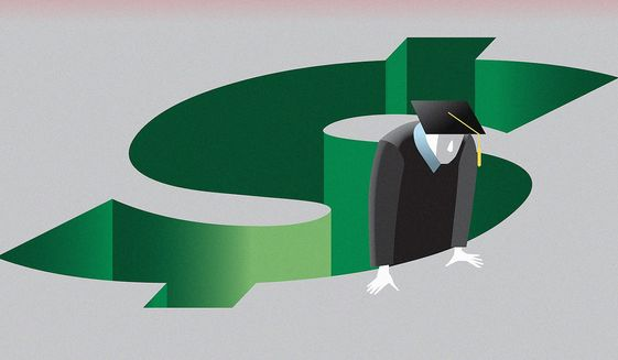 Student loan debt forgiveness illustration by Linas Garsys / The Washington Times