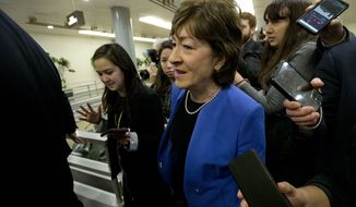 Senators Susan Collins R-ME talks to reporters before attending the impeachment trial of President Donald Trump on charges of abuse of power and obstruction of Congress, Tuesday, Jan. 28, 2020, on Capitol Hill in Washington. (AP Photo/Jose Luis Magana)