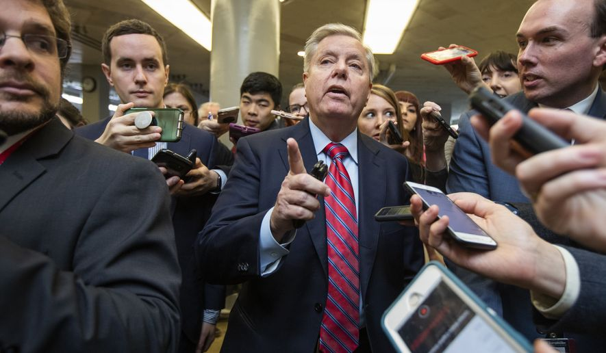 Sen. Lindsey Graham, R-S.C., speaks to reporters at the Capitol in Washington, Tuesday, Jan. 28, 2020. President Donald Trump's legal team prepared to wrap up arguments in his impeachment trial Tuesday as Senate Republicans wrestled with whether to allow witnesses, including John Bolton who appeared ready to contradict a key Trump claim. (AP Photo/Manuel Balce Ceneta)