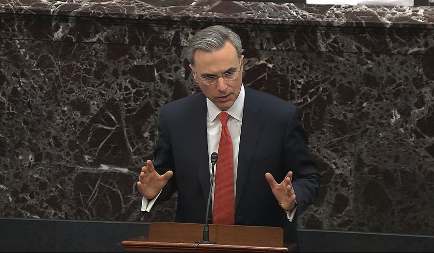 In this image from video, White House Counsel Pat Cipollone speaks during the impeachment trial against President Donald Trump in the Senate at the U.S. Capitol in Washington, Tuesday, Jan. 28, 2020. (Senate Television via AP)