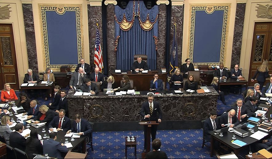 In this image from video, White House deputy counsel Patrick Philbin speaks during the impeachment trial against President Donald Trump in the Senate at the U.S. Capitol in Washington, Tuesday, Jan. 28, 2020. (Senate Television via AP)