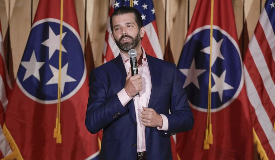 Donald Trump Jr. campaigns for U.S. Senate candidate Bill Hagerty Tuesday, Jan. 28, 2020, in Gallatin, Tenn. (AP Photo/Mark Humphrey)