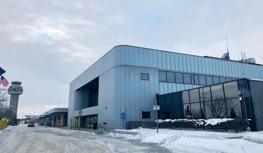 The north terminal at Ted Stevens Anchorage International Airport in Anchorage, Alaska, where a flight plane carrying U.S. citizens being evacuated from Wuhan, China is expected later Tuesday, is seen Tuesday, Jan. 28, 2020. (AP Photo/Mark Thiessen)