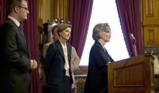 Dana Oxley speaks after being appointed to the Iowa Supreme Court by Iowa Governor Kim Reynolds following the death of Chief Justice Mark Cady, on Tuesday, Jan. 28, 2020, in Des Moines.   (Brian Powers/The Des Moines Register via AP)