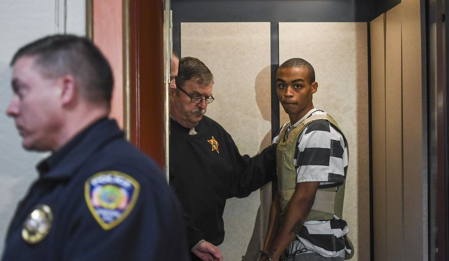 Amir Beaudion Jr., 19, appears in court on Tuesday, Jan. 28, 2020 at the Lincoln County Courthouse in Canton, S.D. Beaudion was charged on Monday with first degree murder in the death of Pasqalina Esen Badi. (Abigail Dollins/The Argus Leader via AP)