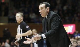 Duke head coach Mike Krzyzewski reacts during the first half of an NCAA college basketball game against Pittsburgh in Durham, N.C., Tuesday, Jan. 28, 2020. (AP Photo/Gerry Broome)