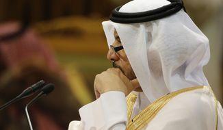 Qatar's Prime Minister Abdullah bin Nasser bin Khalifa al-Thani attends the 40th Gulf Cooperation Council Summit in Riyadh, Saudi Arabia, Tuesday, Dec. 10, 2019.  (AP Photo/Amr Nabil)