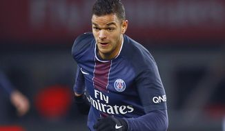 FILE - In this Sunday, Nov. 6, 2016 file photo, PSG's Hatem Ben Arfa runs with the ball during their French League One soccer match between PSG and Rennes at the Parc des Princes stadium in Paris, France. Former France international Hatem Ben Arfa has signed with struggling Spanish club Valladolid. The attacking midfielder will try to revive his much-traveled career at the age of 32. Arfa will play in a third different league and at an eighth club after stints at Lyon, Newcastle, Hull, Marseille, Nice, Paris Saint-Germain and Rennes. (AP Photo/Francois Mori, File)