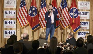 Donald Trump Jr. campaigns for former U.S. Ambassador to Japan Bill Hagerty Tuesday, Jan. 28, 2020, in Gallatin, Tenn. Hagerty is running for U.S. Senate. (AP Photo/Mark Humphrey)
