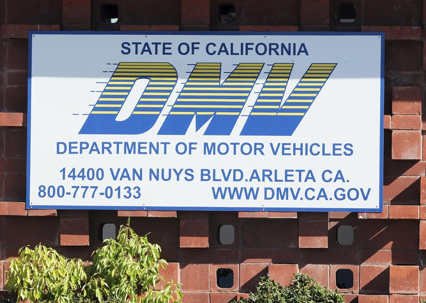 """FILE — In this April 9, 2019 file photo is the California Department of Motor Vehicles office in the Arleta neighborhood of Los Angeles. The California DMV announced Tuesday, Jan. 28, 2020, that it has come to an agreement with soccer fan Jonathan Kotler who had sued the department claiming it had violated his First Amendment rights by rejecting a personalized license plate he said would celebrate his favorite team, but which the DMV said might be deemed offensive. The lawsuit said Kotler applied for a plate that would read COYW, an abbreviation of """"Come on You Whites,"""" a slogan used by fans of London-based Fulham Football Club, referring to their signature white shirts. A DMV spokesperson said it is expediting the approval to get it the plate to Kotler as soon as possible. (AP Photo/Richard Vogel, File)"""
