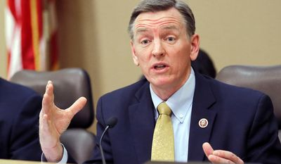 In this December 2013, file photo, U.S. Rep. Paul Gosar, R-Ariz., speaks during a congressional field hearing on the Affordable Care Act in Apache Junction, Ariz. (AP Photo/Matt York, File)