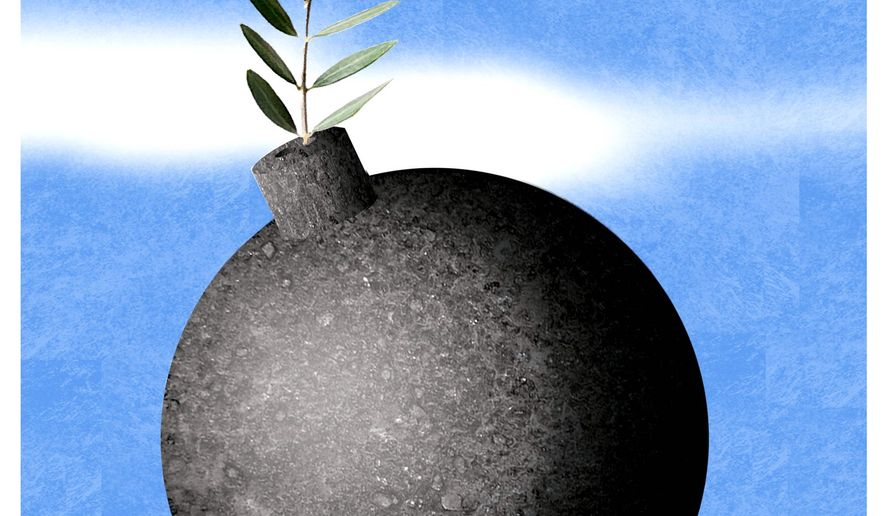 Illustration on the new Middle East peace plan by Alexander Hunter/The Washington Times