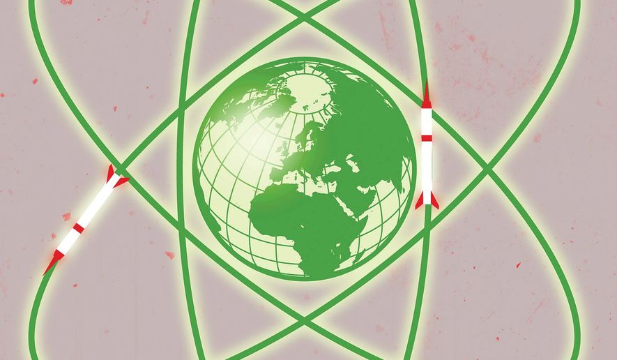 Illustration on nuclear proliferation by Linas Garsys/The Washington Times
