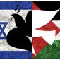 Illustration on Israeli/Palestinian peace by Alexander Hunter/The Washington Times