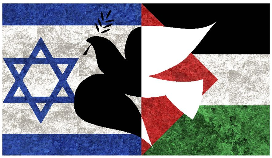 Illustration on Israeli/Palestinian peace by Alexander Hunter/The Washington Times