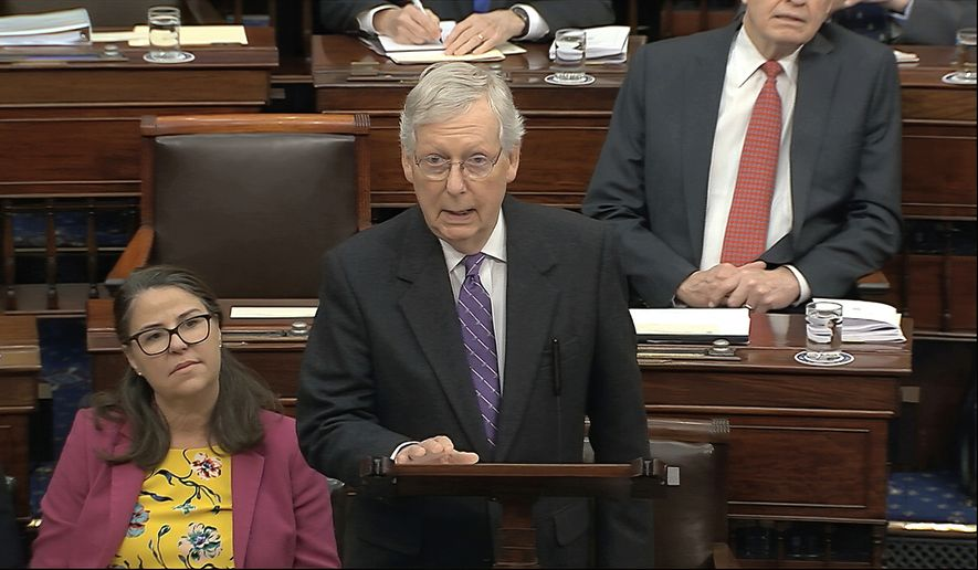 In this image from video, Senate Majority Leader Mitch McConnell, R-Ky., speaks during the impeachment trial against President Donald Trump in the Senate at the U.S. Capitol in Washington, Wednesday, Jan. 29, 2020. (Senate Television via AP)