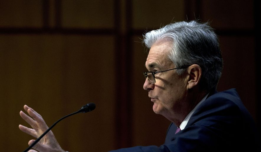 FILE - In this Nov. 13, 2019, file photo Federal Reserve Board Chair Jerome Powell testifies on the economic outlook, on Capitol Hill in Washington. On Wednesday, Jan. 29, 2020, the Federal Reserve issues a statement and economic projections, followed by a news conference with Fed Chair Jerome Powell. (AP Photo/Jose Luis Magana, File)
