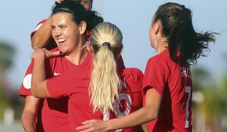 Canada's Christine Sinclair, front left, celebrates with teammates after scoring against St. Kitts and Nevis during a CONCACAF women's Olympic qualifying soccer match Wednesday, Jan. 29, 2020, in Edinburg, Texas. (Joel Martinez/The Monitor via AP)