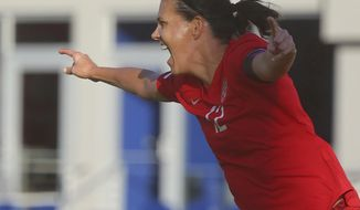 Canada's Christine Sinclair celebrates after scoring against St. Kitts and Nevis in a CONCACAF Olympic qualifying match Wednesday, Jan. 29, 2020, in Edinburg, Texas. Sinclair broke Abby Wambach's record of 184 goals. (Joel Martinez/The Monitor via AP)