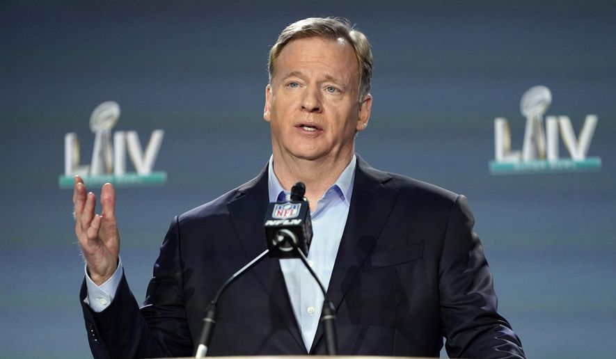 NFL Commissioner Roger Goodell answers a question during a news conference for the NFL Super Bowl 54 football game Wednesday, Jan. 29, 2020, in Miami. (AP Photo/David J. Phillip)  **FILE**