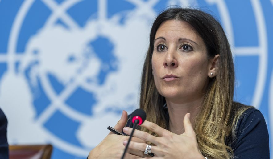Maria van Kerkhove, head of the Outbreak Investigation Task Force for World Health Organization (WHO), speaks to the media about the Situation regarding the new coronavirus, during a press conference at the European headquarters of the United Nations in Geneva, Switzerland, Wednesday, Jan. 29, 2020. (Martial Trezzini/Keystone via AP) ** FILE **