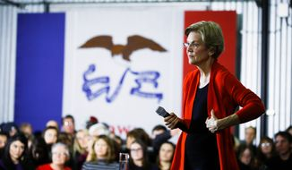 Democratic presidential candidate Sen. Elizabeth Warren released a plan that would push for laws that criminalize spreading online disformation to suppress voter turnout. , D-Mass., speaks during a campaign event, Sunday, Jan. 26, 2020, in Cedar Rapids, Iowa. (AP Photo/Matt Rourke) (Associated Press)