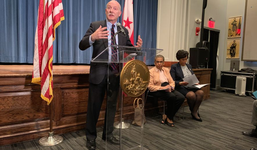 D.C. Council Chairman Phil Mendelson advocates for the District of Columbia to become the 51st state during a press conference on Thursday, Jan. 20, 2020. D.C. Delegate Eleanor Holmes Norton and Mayor Muriel Bowser are seated to his left.   Sophie Kaplan / The Washington Times