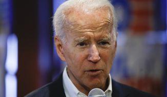 Democratic presidential candidate former Vice President Joe Biden speaks during a campaign event, Thursday, Jan. 30, 2020, in Newton, Iowa. (AP Photo/Matt Rourke)