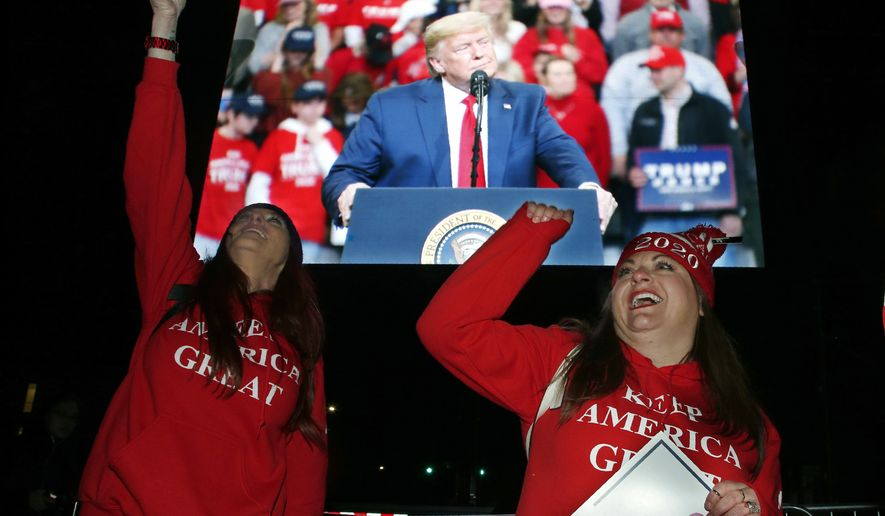 A Trump supporter cheers during a live feed outside a campaign rrally for President Donald Trump, Thursday, Jan. 30, 2020, in Des Moines, Iowa. (AP Photo/Sue Ogrocki)