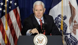 Vice President Mike Pence speaks during a Veterans for Trump campaign event in Council Bluffs, Iowa, Thursday, Jan. 30, 2020. (AP Photo/Nati Harnik)
