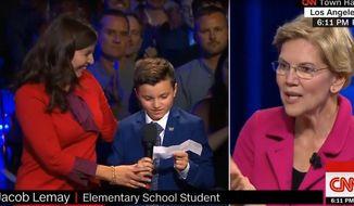 Sen. Elizabeth Warren answers a question during CNN's LGBTQ town hall debate, Oct. 10, 2019. (Image: CNN video screenshot)