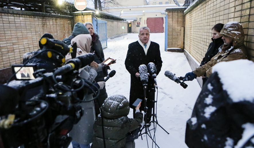 """The new U.S. Ambassador to Russia John Sullivan speaks to the media after visiting Paul Whelan, a former U.S. marine who was arrested for alleged spying in Moscow on Dec. 28, 2018, in Moscow, Russia, Thursday, Jan. 30, 2020. Sullivan told reporters after the visit that Paul Whelan has been in detention for more than 13 months, with the authorities not presenting any evidence of his crimes. """"It's time for this nightmare to end, and for Paul to go home,"""" he said. (AP Photo/Alexander Zemlianichenko Jr)"""