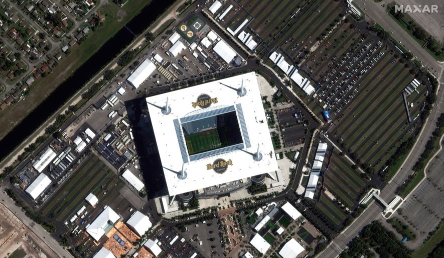 This satellite image taken Jan. 26, 2020, and provided by Maxar Technologies shows Hard Rock Stadium in Miami Gardens, Fla. The San Francisco 49ers are scheduled to face the Kansas City Chiefs in the NFL Super Bowl 54 football game on Sunday at the stadium. (Satellite image ©2020 Maxar Technologies via AP)