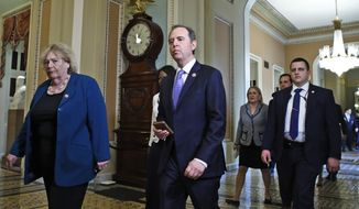 House Democratic impeachment managers Rep. Adam Schiff, D-Calif., center, and Rep. Zoe Lofgren, D-Calif., left, walk to the Senate chamber for the impeachment trial of President Donald Trump at the Capitol, Thursday, Jan. 30, 2020, in Washington. (AP Photo/Steve Helber)