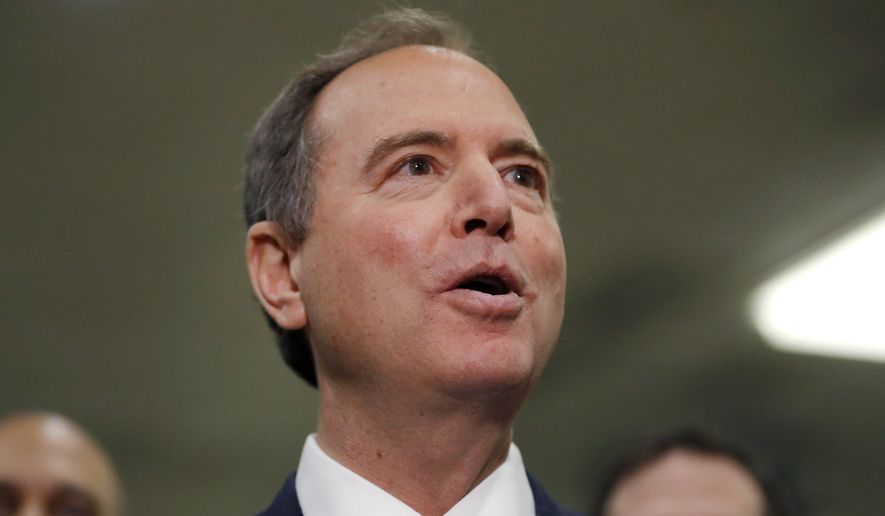 House Democratic impeachment manager Rep. Adam Schiff, D-Calif., speaks to reporters on Capitol Hill in Washington, Thursday, Jan. 30, 2020, during the impeachment trial of President Donald Trump on charges of abuse of power and obstruction of Congress. (AP Photo/Julio Cortez)