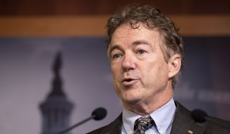 Sen. Rand Paul, R-Ky., speaks during a news conference on Capitol Hill in Washington, Thursday, Jan. 30, 2020, during the impeachment trial of President Donald Trump on charges of abuse of power and obstruction of Congress. (AP Photo/ Jacquelyn Martin) ** FILE **