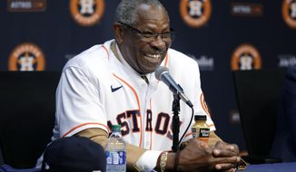 New Houston Astros manager Dusty Baker smiles during a baseball press conference at Minute Maid Park, Thursday, Jan. 30, 2020, in Houston. (AP Photo/Michael Wyke)