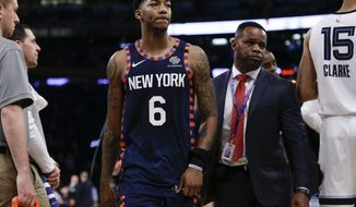 New York Knicks' Elfrid Payton (6) leaves the court after being ejected during the second half of the team's NBA basketball game against the Memphis Grizzlies on Wednesday, Jan. 29, 2020, in New York. The Grizzlies won 127-106. (AP Photo/Frank Franklin II)