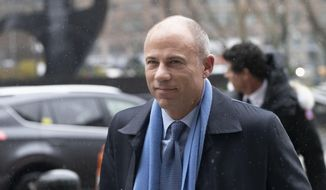 FILE - In this Dec. 17, 2019, file photo, California attorney Michael Avenatti arrives at federal court to enter a plea to an indictment charging him with trying to extort up to $25 million from Nike, in New York. A lawyer for Nike testified Thursday, Jan. 30, 2020, that he felt like a stickup victim when well-known attorney Avenatti demanded up to $25 million to stop him from igniting a media scandal by publicizing claims that Nike employees paid the families of elite high school basketball players. (AP Photo/Mark Lennihan, File)