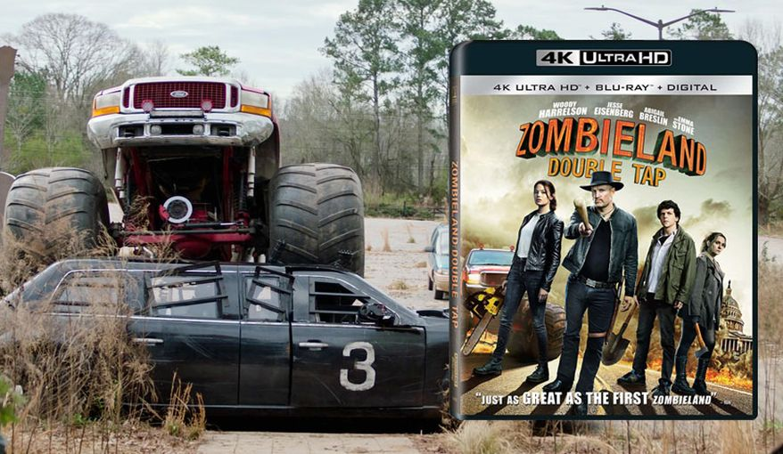 "The Beast meets monster truck Big Fat Death in ""Zombieland: Double Tap,"" now available on 4K Ultra HD from Sony Pictures Home Entertainment."