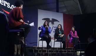 Rep. Ilhan Omar, D-Minn., far right, Rep. Pramila Jayapal, D-Wash., second from right, and Rep. Rashida Tlaib, D-Mich. center, participate in a panel during a campaign event for Democratic presidential candidate Sen. Bernie Sanders, I-Vt. Friday, Jan. 31, 2020, in Clive, Iowa. (AP Photo/Marcio Jose Sanchez)