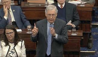 In this image from video, Senate Majority Leader Mitch McConnell, R-Ky., asks for a vote to be taken to table a motion by Senate Minority Leader Chuck Schumer, D-N.Y., during the impeachment trial against President Donald Trump in the Senate at the U.S. Capitol in Washington, Friday, Jan. 31, 2020. (Senate Television via AP)