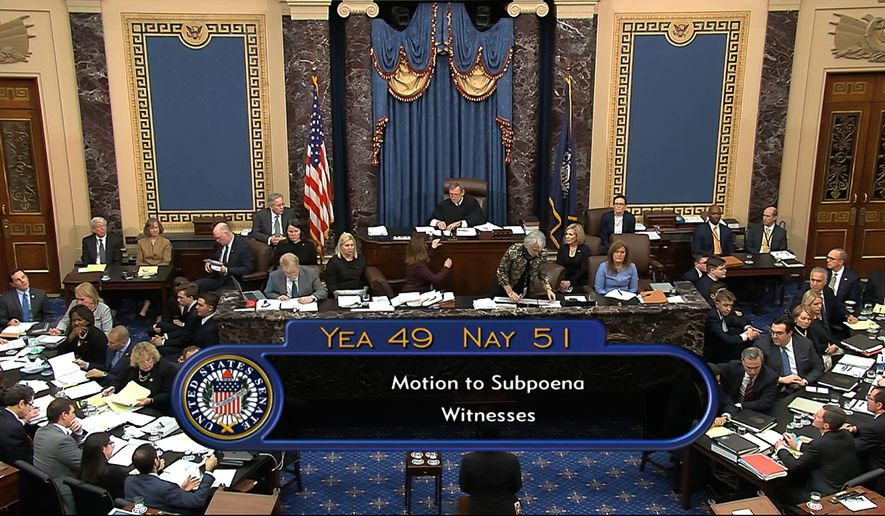 In this image from video, the final vote total on the motion to subpoena and allow additional witnesses and documents, during the impeachment trial against President Donald Trump in the Senate at the U.S. Capitol in Washington, Friday, Jan. 31, 2020. The motion failed by a vote of 51-49. (Senate Television via AP)