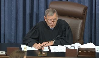 In this image from video, presiding officer Chief Justice of the United States John Roberts calls for the vote on the motion to allow additional witnesses in the impeachment trial against President Donald Trump in the Senate at the U.S. Capitol in Washington, Friday, Jan. 31, 2020. (Senate Television via AP)
