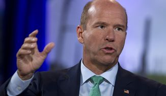 In this Sept. 19, 2019, file photo, Democratic presidential candidate former Maryland Rep. John Delaney speaks at the Climate Forum at Georgetown University in Washington. Delaney, the longest-running Democratic candidate in the 2020 presidential race, is ending his campaign after pouring millions of his own money into an effort that failed to resonate with voters. (AP Photo/Jose Luis Magana)