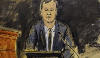 This courtroom sketch shows Scott R. Wilson, former Boies Schiller attorney whose client is Nike, testifying during trial for Michael Avenatti in New York, Wednesday Jan. 29, 2020. (Elizabeth Williams via AP)