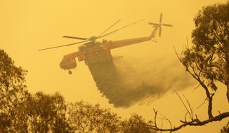 A helicopter drops water on a fire near Bumbalong, south of the Australian capital, Canberra, Saturday, Feb. 1, 2020. The threat is posed by a blaze on Canberra's southern fringe that has razed more than 21,500 hectares (53,000 acres) since it was sparked by heat from a military helicopter landing light on Monday, the Emergency Services Agency said. (AP Photo/Rick Rycroft)