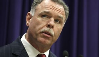 FILE - In this July 24, 2014 file photo, Chicago Police Superintendent Garry McCarthy speaks at a news conference in Chicago. The former head of the Chicago Police Department is advising a local cannabis company on security after more than $200,000 was stolen from it during a burglary last month.  Danny Marks, the co-owner of MOCA Modern Cannabis, told the Chicago Tribune that he brought on former police Superintendent Garry McCarthy as a consultant as he seeks a license to open a new recreational pot store in the River North neighborhood.   (AP Photo/M. Spencer Green, File)