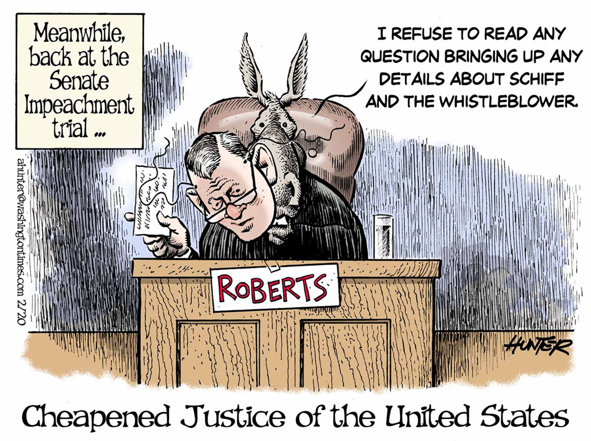 Political Cartoons - Congress in action - Cheapened Justice of the United States - Washington Times