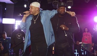 Fat Joe and 50 Cent perform at the Pepsi Super Splash Pool Party at Pepsi Neon Beach on Saturday, Feb. 1, 2020, in South Beach, FL. (Photo by Donald Traill/Invision/AP)